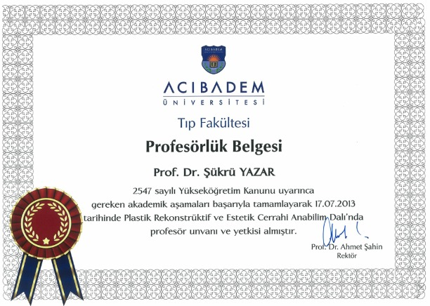 Prof. Dr. Şükrü Yazar Profesörlük Belgesi