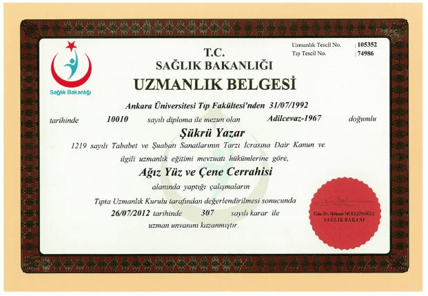 Prof. Dr. Şükrü Yazar Ağız, Yüz ve Çene Cerrahisi