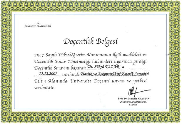 Prof. Dr. Şükrü Yazar Doçentlik Belgesi