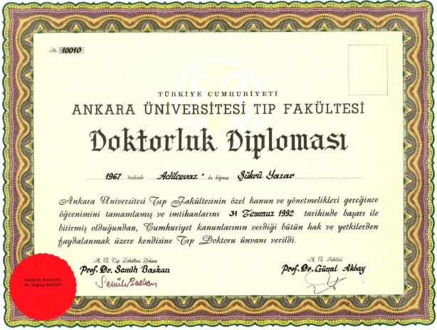 Prof. Dr. Şükrü Yazar Doktorluk Diploması