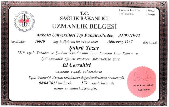 Prof. Dr. Şükrü Yazar El Cerrahisi