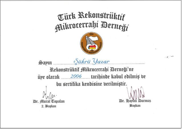Türk Rekonstrüktif Mikrocerrahi Derneği Sertifikası